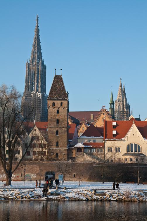 Ansicht Ulm mit Münster, Metzgerturm und Stadtmauer um Winterfrost
