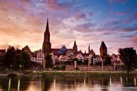 Ansicht Ulm im Abendlicht - Querformat